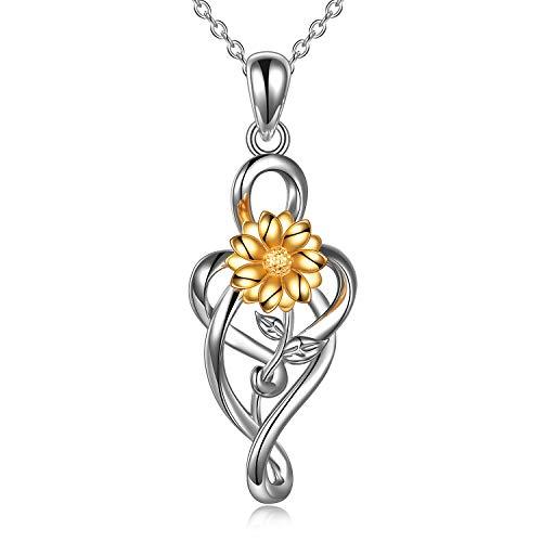 YFN Sonnenblumen Halskette 925 Sterling Silber Daisy Sunflower Anhänger Halskette Schmuck Geschenke für Frauen Mädchen