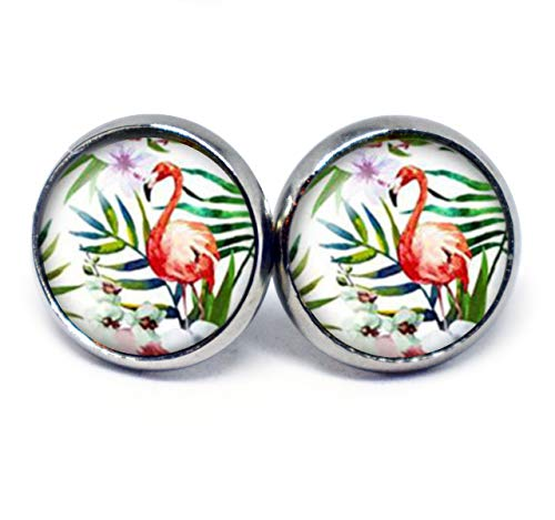 JUANLOWE Tropische Flamingo Ohrringe, Vogel Motiv, Sommerohrringe, silberfarbene Ohrstecker aus Edelstahl, Stecker