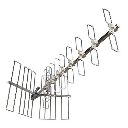 Elettronica Cusano LAMB46 - Antenna TV Esterno Altamente Direttiva da 46 Elementi, Antenna TV UHF da Esterno ad Alta Direttività, Antenna TV Guadagno 14dB, Antenna TV a 46 Elementi, bianco