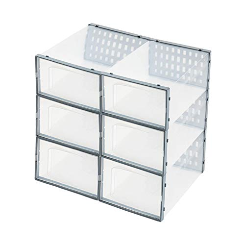 Caja de almacenamiento para zapatos y cajas transparentes plegables de diseño para zapatos, apilables, con ranuras de ventilación, ideal para zapatos domésticos y de colección, ahorra espacio
