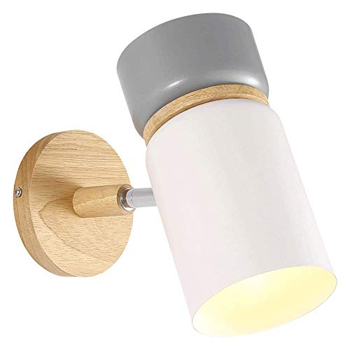 JJRPPFF Lámpara de Pared de Madera de Caucho Gris, Aplique de Noche Junto a la Cama en el Dormitorio, iluminación de Pared de Fondo de TV en la Sala de Estar, Accesorio de habitación Modelo de Hotel