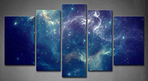 First Wall Art - Espacio Cuadros en Lienzo Nebulosa Colorida Abstracta en el Universo Azul Decoracion de Pared 5 Piezas Modernos Mural Fotos para Salon,Dormitorio,Baño,Comedor