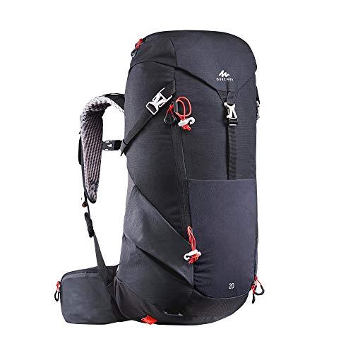 Quechua Wanderrucksack Bergwandern MH500 20 Liter Schwarz Wandern Rucksack Größe L leicht mit viel Stauraum und Getränkehalter