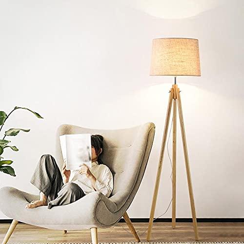 ZXQ Lámpara de pie interior para sala de estar Lectura Simplicidad Decoración del hogar Luz de lectura Madera maciza Luz cálida Hogar