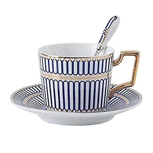 ZJSXIA Hueso China Taza de café, platillo y Cuchara Conjunto 200 ml Taza de té nórdico, Conjunto de té de Porcelana, Taza de té de cerámica Avanzada, cafetería a Tazas Cafe (Color : Blue1cup)