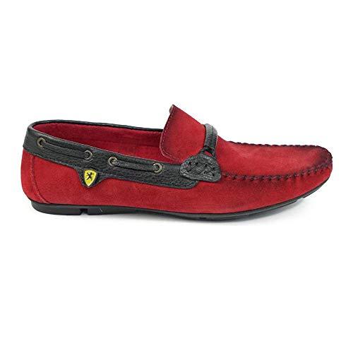 PeppeShoes Modello Biacello - EU 44 - US 11 - UK 10-29 cm - Handgemachtes Italienisch Bunte Herrenschuhe Lederschuhe Herren Rot Mokassins Müßiggänger und Slip-Ons - Rindsleder Wildleder - Schlüpfen