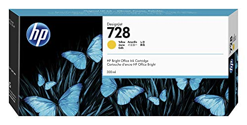 HP 728 Yellow 300-ml Genuine Ink Cartridge (F9K15A) for DesignJet T830 MFP & T730 Large Format Plotter Printers