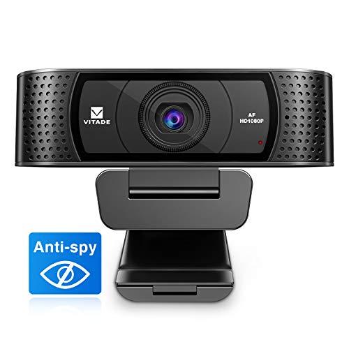 Webcam 1080P Full HD mit Mikrofon und Abdeckung, 928A Pro USB 2.0 Laptop Desktop PC Webcam 30fps mit Autofocus Automatischer Lichtkorrektur für das Streaming von Konferenzen Mac Windows Zoom Skype