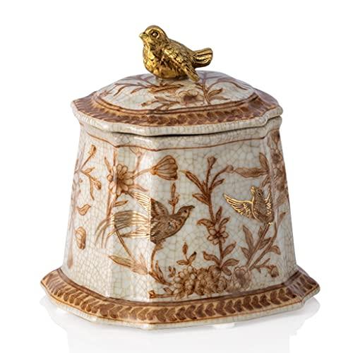 cajas para joyas Caja De Joyería Retro Caja De Almacenamiento De Caja De Joyería De Porche De Cerámica De Alta Temperatura Europea (Color : Beige, Size : 11 * 11 * 9cm)