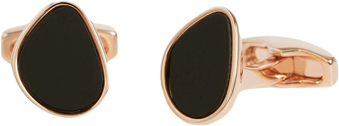 Simon Carter Mens Organic Pebble Onyx and Rose Gold Cufflinks - Black/Rose Gold