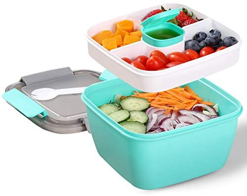 Portable Salad Lunch Container 38 Oz Salad Bowl 2 Compartments with Dressing Cup Large Bento product image