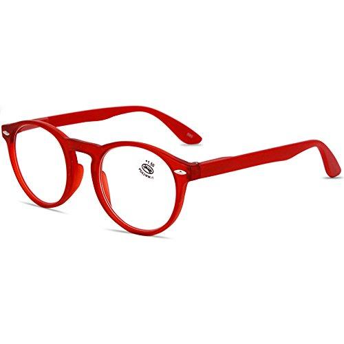 VEVESMUNDO® Lesebrillen Damen Herren Federscharniere Retro Runde Lesehilfe Sehhilfe Arbeitsplatzbrille Nerdbrille Hornbrille mit Stärke Schwarz Leopard Blau Rot Brau (+3.5, Rot)