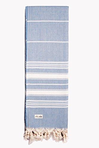 Captain&Mermaid® Premium Strandtuch aus 100% Baumwolle Oeko-TEX® | Badetuch | Handtuch | Yoga | Peshtemal | Sauna Tuch | Hamam Tuch | leicht, dünn & extra saugstark (Blau)