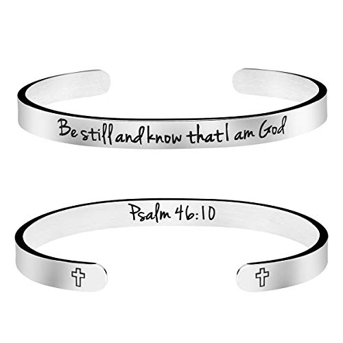 MEMGIFT Be Still and Know That I am God Religious Jewelry Gifts for Women Bible Verse Bracelet