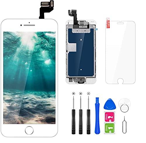 FLYLINKTECH Pantalla para iPhone 6s Blanco, Pantalla Táctil LCD con Cámara Frontal,Sensor de proximidad,Altavoz, ensamblaje de Marco digitalizador y Herramienta