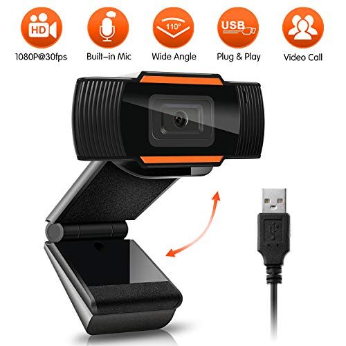 Webcam Auto Focus 1080P Full HD Widescreen Web Camera with Microphone USB Computer Camera for PC Laptop Desktop Mac Video Calling Recording Streaming Video Conference Online Teaching Business Gaming…