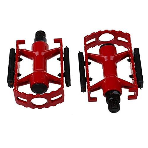 Ligera Pedal de la Bicicleta MTB BMX de Ciclo del Camino de montaña de la Bicicleta de Aluminio Plana Jaula Pedales Plataforma Fácil de Instalar (Color : Red)