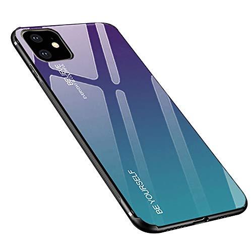 Dqtaoply Funda para iPhone 11, cristal templado, parte trasera con marco de silicona TPU suave, color degradado, funda para iPhone 11 (morado azul)