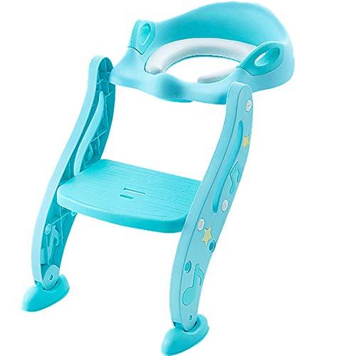 N \ A Azul Asiento de Bano Adaptador de Inodoro con Escalera,Capacidad de Carga 70kg,Seguro, Antideslizante Asiento WC para Adultos, Niños y Niños Pequeños
