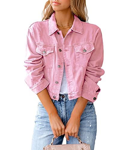 Eghunooye Damen Jeansjacke Reverskragen Kurz Lässig Denim Jacket mit Knöpfen Stretch Jacke Sommer Frühling Mantel Coat Outwear S M L XL XXL (Rosa, Medium)