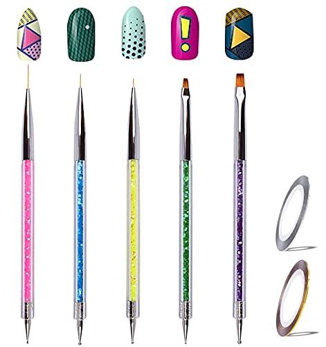 5 Stücke Nageldesign Pinsel Nail art Pinsel Set,Nail Art Liner Pinsel Nail Art Dotting Punktierung Zeichnung Pinsel Stift Acryl UV Gel 3D Funkeln Liner Nagellack Stift Set für DIY Nail Art Design