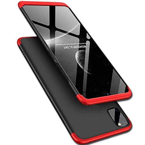 Colorcase 360 Degree 3 in 1 Edge to Edge Full Protection Anti ShockProok Back Cover Case Matte Finishing for ViVo V19 - {Black/Red}