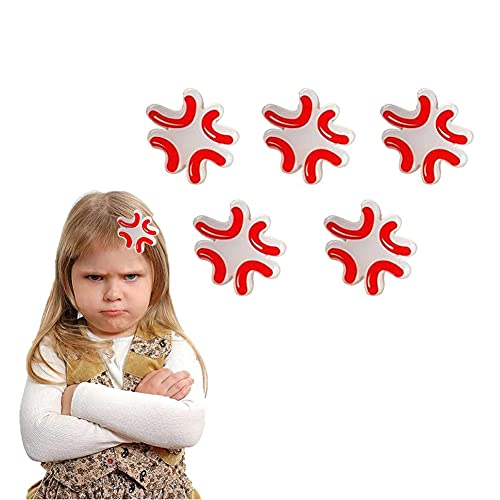 Dripping Sweat Emoji Hairpin Pin - Emoji Pack Sweating Hair Clips, Funny Cute Personality Hair Accessories for Women Girls Gifts (Angry Red)