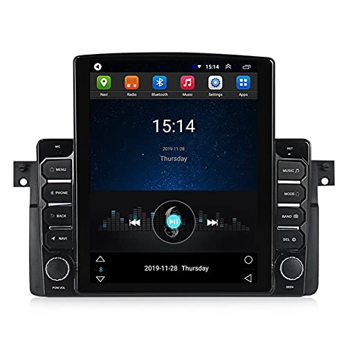 ADMLZQQ Android 10 Mp5 Reproductor Sistema De NavegacióN GPS Pantalla TáCtil HD Radio De Coche EstéReo Pantalla Vertical Control para 1998-2006 BMW E46,con FM/WiFi/Dsp