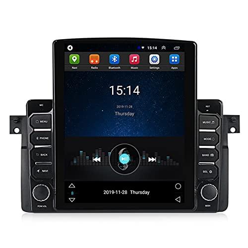 ADMLZQQ Android 10 Mp5 Reproductor Sistema De NavegacióN GPS Radio De Coche EstéReo Pantalla Vertical Control del Volante Adecuado para 1998-2006 BMW E46,con FM/WiFi