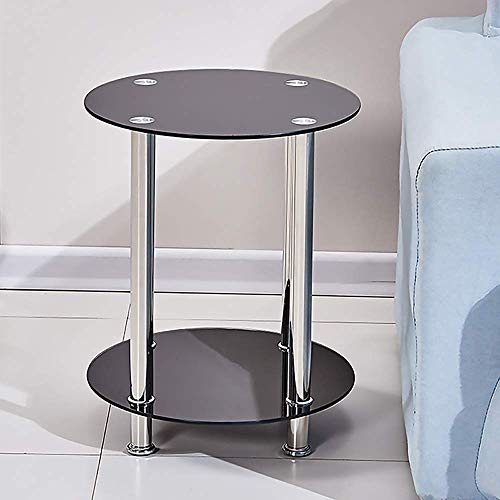 BOJU Modern Sofa Coffee Side Table Small for Living Room Black Glass Round End Table for Tea Snack Table with Storage 2 Tiers for Bedroom Corner