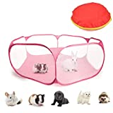 ATPWONZ Guinea Pig Cage Tent Puppies Cage Rabbit Cage Small Animals Pet Playpen, Portable Pet Fence for Hamsters,Chinchillas,Hedgehog,Puppy,Cats for Outdoor/Indoor -Pink