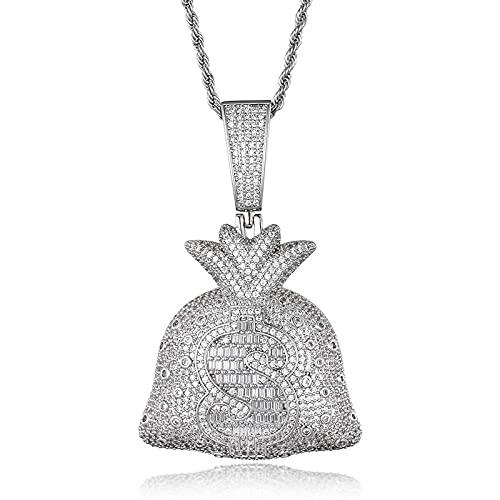 Collares Collar de rapero de piedra de circón de Hip Hop para hombres Cadena de cuerda de oro brillante de dólares de piedra de 24 pulgadas