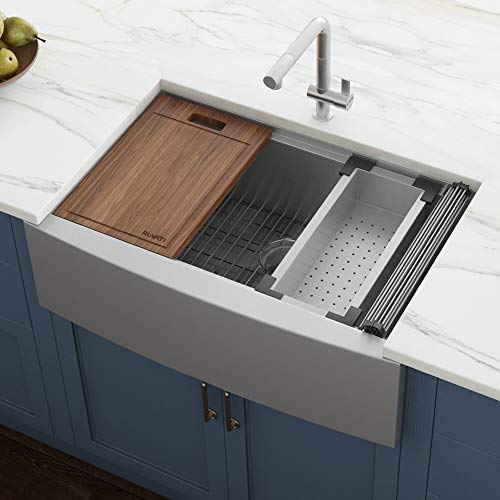 Ruvati Verona RVH9200 33' Apron-front Workstation Farmhouse Single Bowl Kitchen Sink, Stainless...