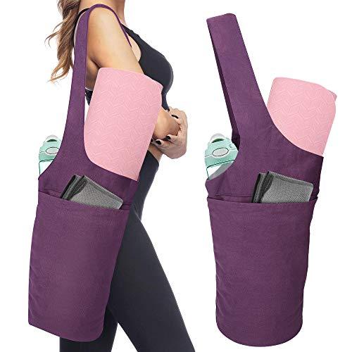 MoKo Borsa per Tappetino Yoga, Tote per Porta Tappetini da Yoga Borsa in Tela di Cotone con Grande Tasca e Tasca a Zipper Riutilizzabile Yoga Mat Bag - Viola