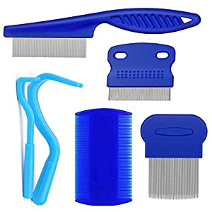 weback Flea Comb Tick Removal Tool for Cats Dogs Fine Tooth Comb Pet Comb Grooming Set Remove Float Hair Tear Marks