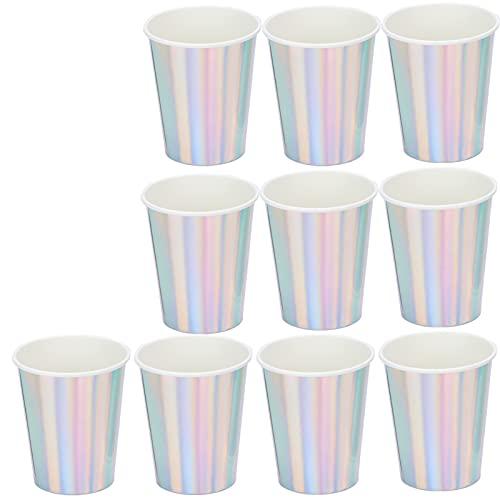 XINL Vasos de Papel, 20 Vasos Desechables Desechables de 3 Colores deslumbrantes para Uso en Fiestas, etc.(Plata)