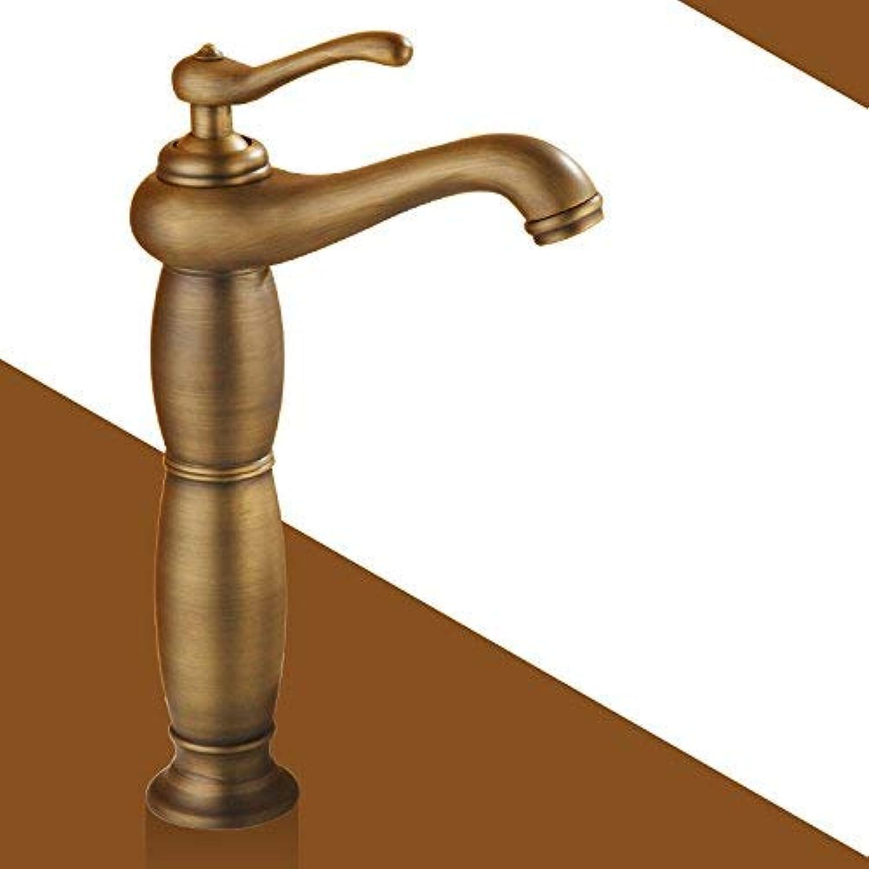 ZHAS Waschbecken Leitungswasser Mischbatterie Voller KupferGold heier und kalter Wasserhahn, antiker Klassiker Plus hoher Abschnitt