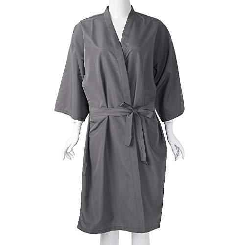 Albornoz de peluquería para cliente, ligero estilo kimono de secado rápido con mangas y capas de mangas, negro/gris