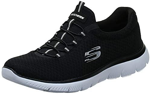 Skechers womens Summits Sneaker, Black/White, 8 US