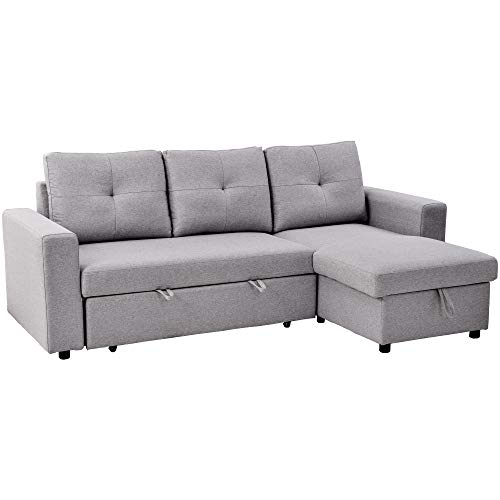 Merax 90 Inch L Shaped Sofa Couch with Pull Out Sleeper and Left or Right Handed Storage Chaise Sectional, Light Grey