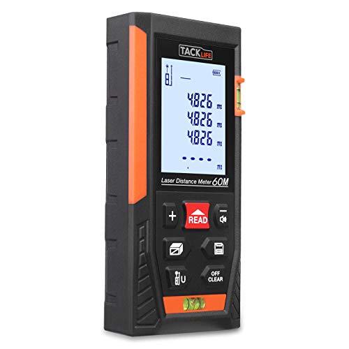 Laser Entfernungsmesser Distanzmessgerät Messbreich 0.05~60m/±1.5mm mit 2 Libellen Messeinheit m/in/ft mit LCD Hintergrundbeleuchtung, IP54 Staub und Spritzwasserschutz - TACKLIFE HD-60