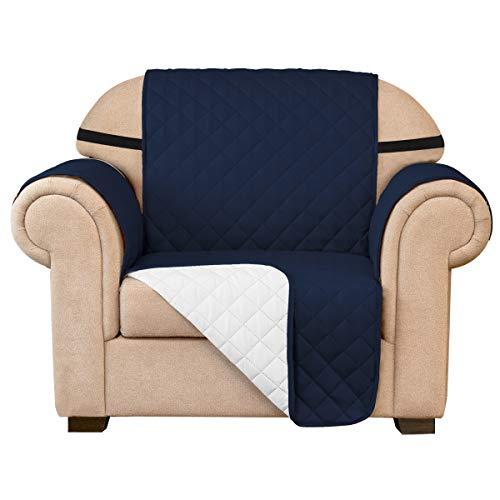 subrtex Funda de sofá Reversible Acolchada para 1,2,3 plazas Funda de Silla Antideslizante para Mascotas y niños con Correas Elásticas Protector de Muebles (1 Plaza, Armada)