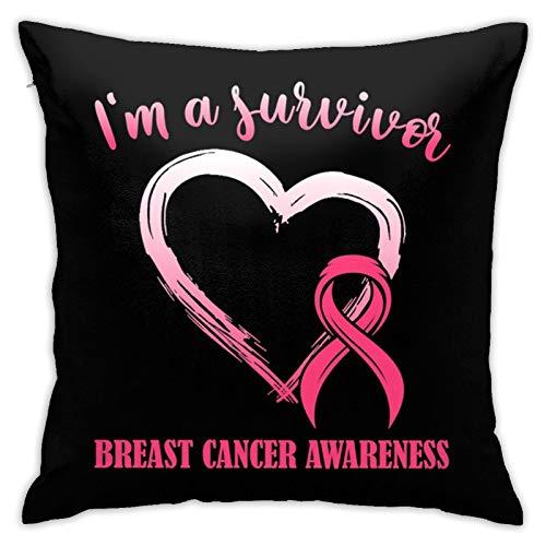 Fenrris65 Funda de almohada cuadrada para sobreviviente del cáncer de mama, con cinta rosa, 45 x 45 cm