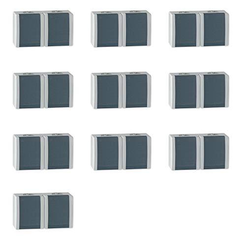 ALING-CONEL 2-fach Aufputz Schutzkontakt Steckdose mit Klappdeckel 16A/250V~ / IP44 - Grau (10er Set)