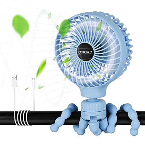 Opard Portable Mini Stroller Fan, Rechargeable Battery Operated, USB Small Personal Handheld Clip on Fan for Bedroom Home Room Desk Table Camping