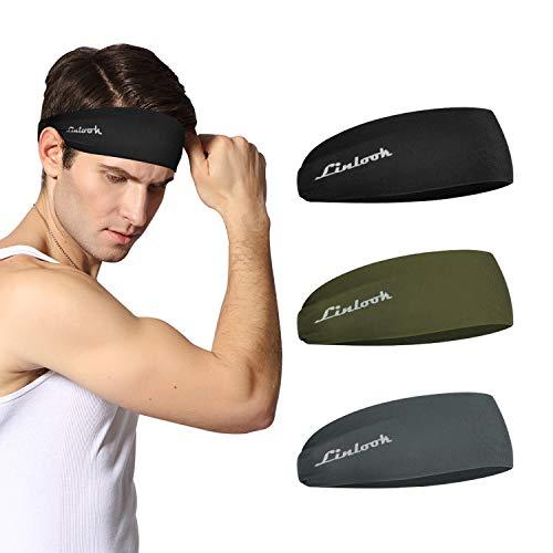 Linlook Sport Stirnband für Herren und Damen - Schweißband Anti Rutsch für Jogging, Laufen, Wandern, Fahrrad- und Motorrad Fahren 3 Pack… (Farbe 6)