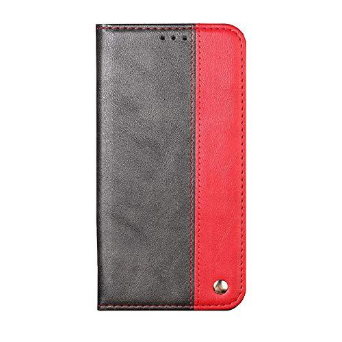 Ailisi Hülle Galaxy S7 Edge Schutzhülle, Premium Luxus Klapphülle Slim Handyhülle mit Kartenfächern, Magnetisch Tasche Leder Flip Case für Samsung Galaxy S7 Edge Cover -Schwarz+Rot