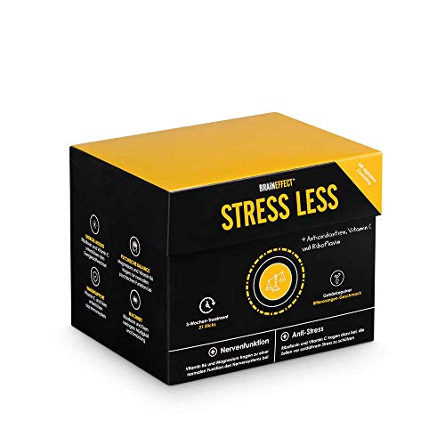 BRAINEFFECT STRESS LESS I Getränkepulver I 21 Portionen I Vegan I Immun-Support mit Vitamin C und Eisen I inklusive digitalem Anti-Stress-Coach