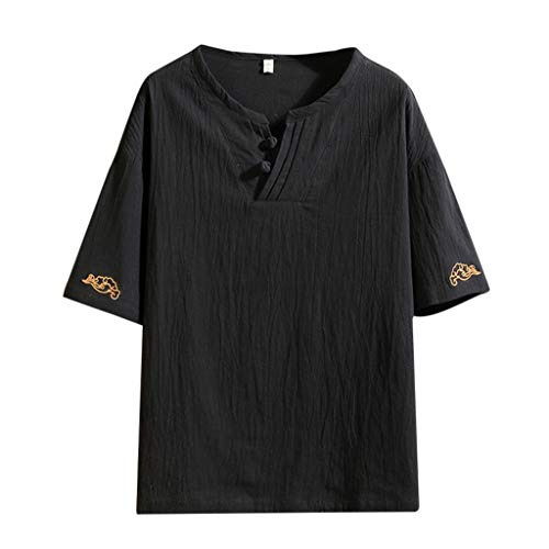 Yowablo Herren Poloshirt Polohemd Stehkragenshirt Kurzarmshirt Funktionsshirt Sportshirt Fitness Shirt Tee T-Shirt Sporthemd Trainingsshirt Sportswear T-Shirt (4XL,1Schwarz)