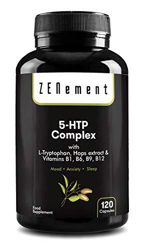 5-HTP-complex met L-tryptofaan, hop extract en vitaminen B1, B6, B9, B12, 120 Capsules | voor de stemming, slaap, verlichten pijn, angst en obesitas | 100% natuurlijk, GGO-vrij | van Zenement
